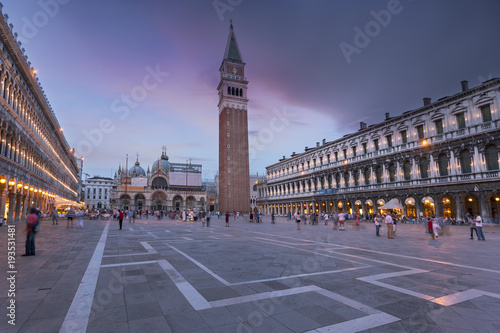 Foto op Plexiglas Venice St. Mark Square Campanile and Doges Palace. Clock Tower of Venice against sunset sky, Italy.