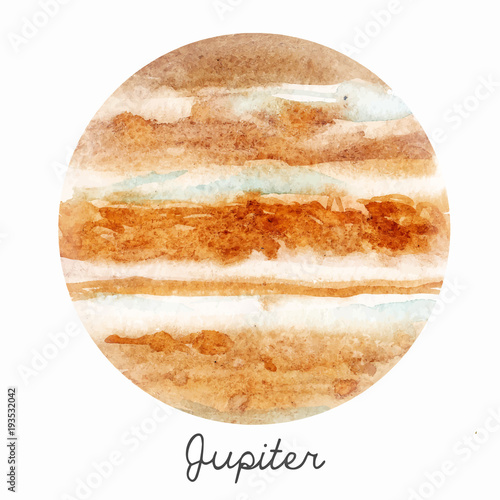 Watercolor Jupiter planet vector illustration Canvas-taulu