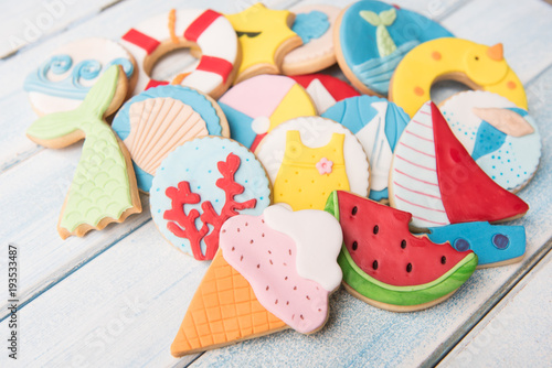 Butter cookies with summer decoration