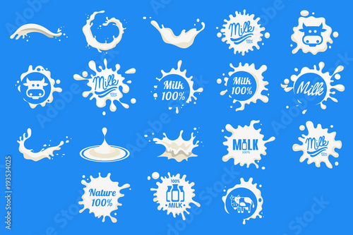 Collection of dairy and milk product logos, fresh natural food emblem design, milk splashes with text vector Illustrations