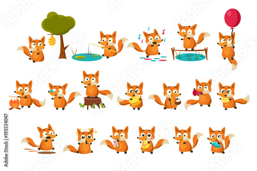 Photo  Cute fox cub character doing different activities set, funny forest animal in di