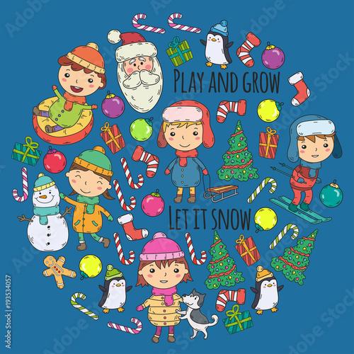 In de dag Cartoon draw Children and winter games - ski, sledge, ice skating Christmas celebration. Kindergarten kids play and having fun. Santa claus, snowman, deer, penguin. Kids drawing vector doodle illustration.
