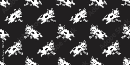 Dog Seamless Pattern French Bulldog Vector Isolated Wallpaper Background Doodle Cartoon Black Buy This Stock Vector And Explore Similar Vectors At Adobe Stock Adobe Stock