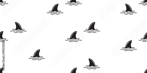 shark fin seamless pattern dolphin isolated vector whale ocean wave sea island b Fototapet