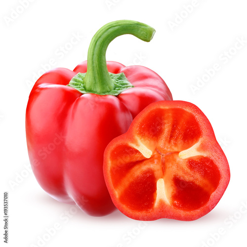 Fotografía  Red bell pepper, isolated on a white background.