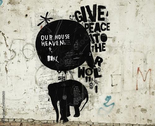 Слон и воздушный шар на стене