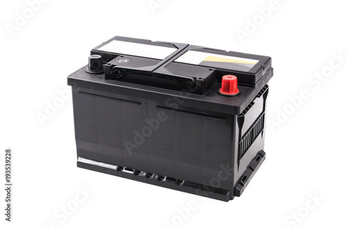 Foto Car battery isolated on white background.