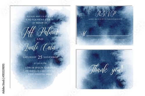 Indigo, navy blue wedding set with  hand drawn watercolor background Canvas-taulu
