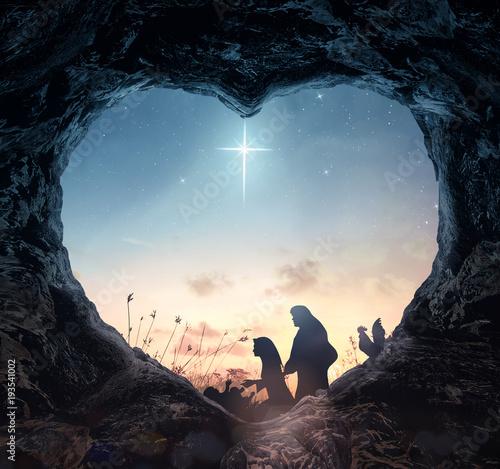 Fotografie, Obraz  Christmas religious nativity concept: Silhouette mother Mary and father Joseph l