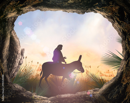Palm Sunday concept: Silhouette Jesus Christ riding donkey with tomb stone on meadow sunset background