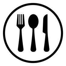 Fork,spoon,and Knife Icon, Restaurant Icon, Outline Vector