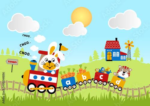 podroz-na-lokomotywie-z-zabawna-kreskowka-zwierzat