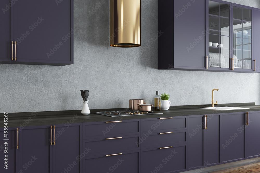 Fototapeta Concrete wall kitchen, purple countertops close up