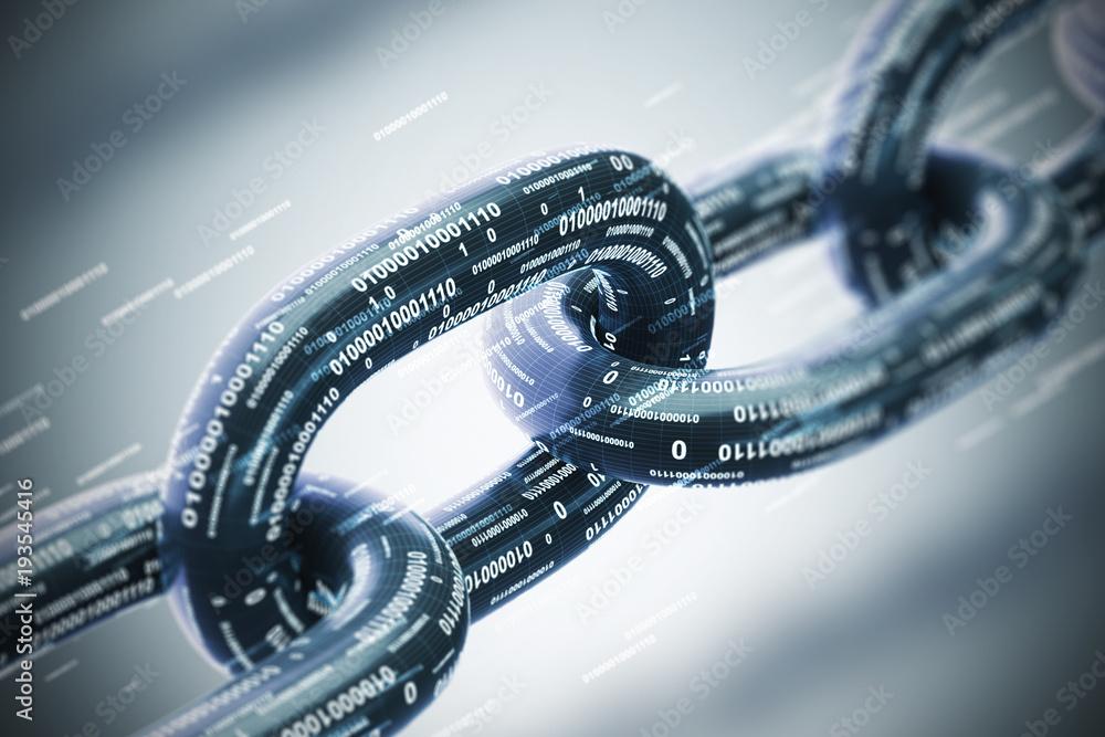 Fototapeta Diagonal chain, a blockchain concept, gray closeup