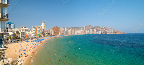 Panoramic landscape of Mediterranean sea and beach Playa de Levante in Benidorm, Alicante, Spain