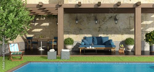 Fotografia Garden with pergola and pool