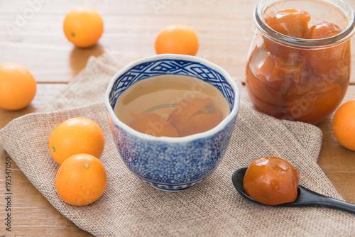 金柑の甘露煮のお湯割