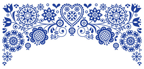 Panel SzklanyFolk art frame border retro vector greeting card design, floral ornament inspired by Scandinavian art