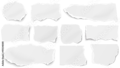 Fotografía  Set of paper different tears scraps isolated on white background