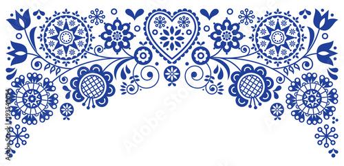 Fotografering  Folk art frame border retro vector greeting card design, floral ornament inspire