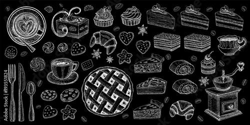 Obraz na plátně Bakery pastry sweets desserts objects collection shop cafe poster restaurant menu food