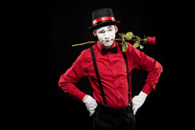 Mime Grimacing And Holding Red...