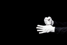 Cropped Image Of Mime Hiding Thumb Isolated On Black