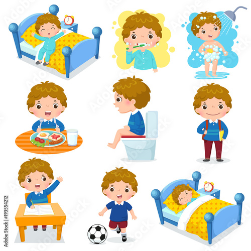 Daily routine activities for kids with cute boy Wallpaper Mural