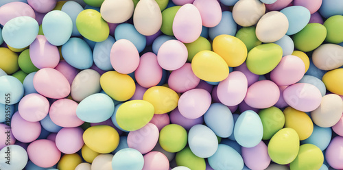 pastel colored easter eggs background - 3D Rendering