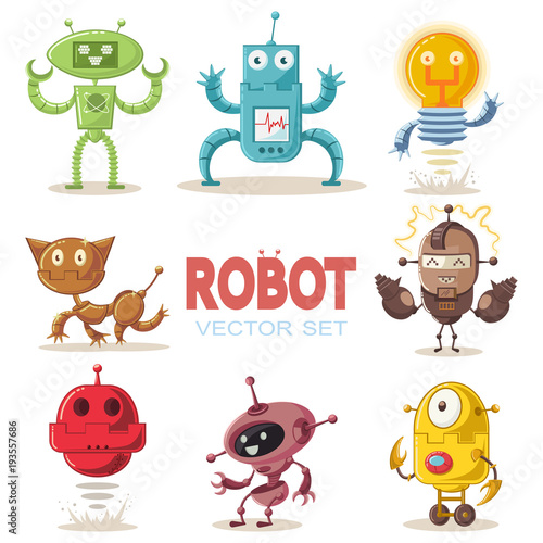 Deurstickers Cute robot flat cartoon character set. Vector illustration of a technological interactive toy isolated on a white background.