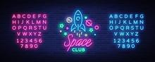Space Nightclub Logo In Neon S...