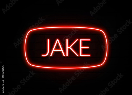 Jake neon sign on brick wall background. Canvas Print