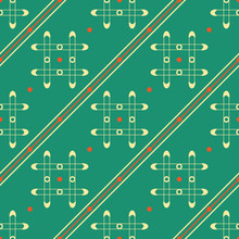 Seamless Geometric Pattern Of Grilles, Dots And Diagonal Lines