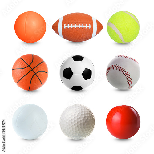 Fotobehang Bol Set of Sports Balls on white background