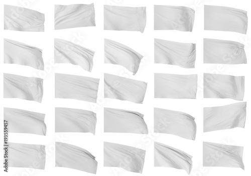 Fotobehang Stof Set of white flags. 3d illustration