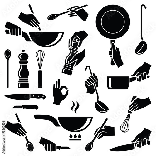 Cuadros en Lienzo  Cooking and kitchen tool with hand icon collection - vector silhouette illustrat