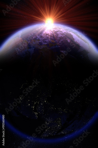 Fotografía 3D rendering of a sunrise over planet earth