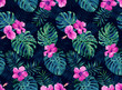 canvas print picture Seamless pattern with monstera and palm leaves on dark background.Tropical camouflage print. Neon Night