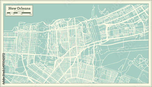New Orleans Louisiana USA City Map in Retro Style. Outline Map ... on
