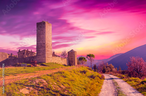 Foto op Canvas Candy roze View of Santa Giuliana castle, Umbria, Italy