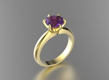 3D Illustration Gold Ring With Ultra Violet Gemstone. Jewelry Background. Fashion Accessory