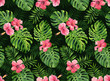canvas print picture Seamless pattern with monstera and palm leaves on dark background.Tropical camouflage print.