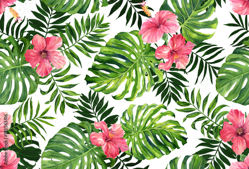 Obraz Seamless pattern with monstera and palm leaves on white background.Tropical camouflage print. - fototapety do salonu