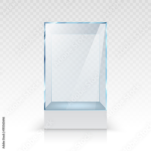 Fotografie, Obraz  Realistic empty glass showcase for exhibition on transparent background isolated