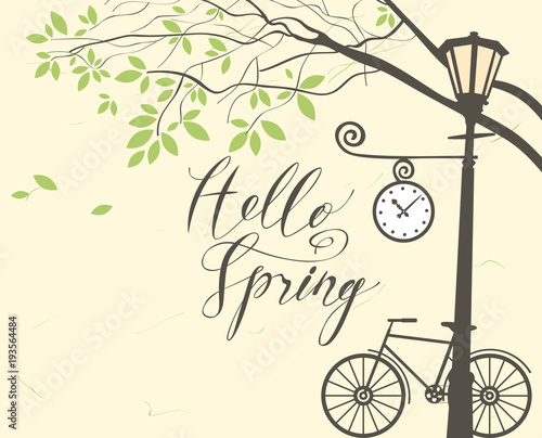 Foto op Canvas Lichtblauw Vector banner with inscription Hello Spring. Spring landscape with green tree in the park, bicycle and Clock on the lamp post
