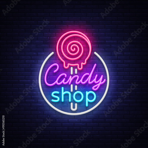 Candy Shop Logo In Neon Style. Store Sweets Neon Sign