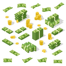 Set Of Isometric Money Isolated On White Background.