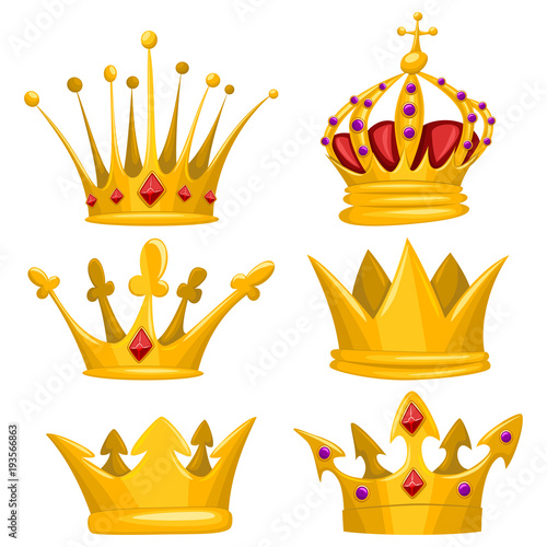 Gold Crown For King Queen Princess And Prince Vector Cartoon Set Royal Attributes Icons Collection Isolated On White Background Buy This Stock Vector And Explore Similar Vectors At Adobe Stock Cartoon isolated vector illustration on white background emoticon king with crown. gold crown for king queen princess