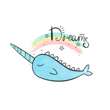 Magic Narwhal. A Whale With A Horn. Watercolor Illustration