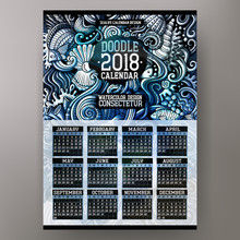 Cartoon Colorful Hand Drawn Doodles Sea Life 2018 Year Calendar